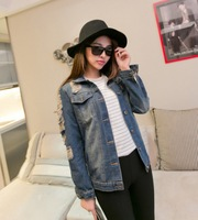 Free Shipping 2013 spring and autumn vintage fashion vintage denim outerwear oversize bf top loose
