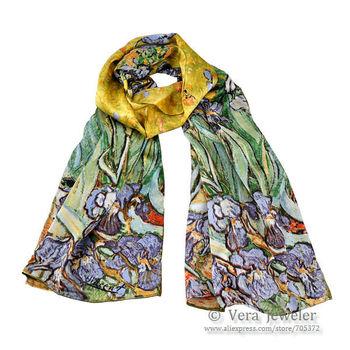 "100% Silk Luxurious Charmeuse Silk Van Gogh's ""Irises"" 1890 Oil Painting Handrolled Edges Long Scarf Shawl Wraps Hijab Headscarf"