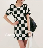Free shipping Black and white plaid dress summer Korean yards was thin package hip round neck short sleeve 1327#