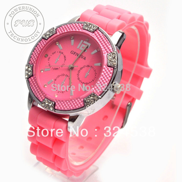 Various colors amazing candy jelly women/girls geneva wristwatches quartz candy jelly watches(China (Mainland))