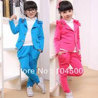 Free shipping  female child spring  blazer  harem pants casual sports set twinset