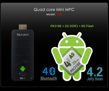 Stock! Measy U4B RK3188 Quad core A9 Mini PC TV Dongle 2GB  DDR3 +8GB  Android 4.2 Bluetooth 5G Wifi google TV box+Power Adapter