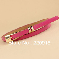 New long buckle double ring PU leather thin belt for dresses woman belt 2013 Free Shipping W038