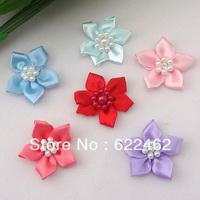 40pcs U pick satin ribbon flowers W/pearl Appliques Craft DIY Wedding A788M