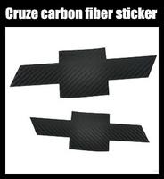 Free Shipping High QualityChevrolet Cruze Front and Rear car mark carbon fiber sticker 2pcs=1set Auto logo sticker