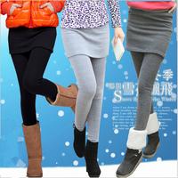 S~4XL Women Plus Size Elastic Waist Thickening Fleece Spring Autumn Winter Boot Cut Pantskirt Brand Pencil Tight Pants 1046
