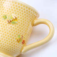 Hand-painted bee series, milk cup, ceramic mug, coffee cup, water cup, family daily-used ceramic kitchenware