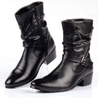 man men's black color  pointed toe leather fashion  boots shoes formal  motorcycle boots height increasing