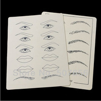 5 sets/lot 2 pcs Synthetic Flexible Eyebrow Lips Tattoo Designs Practice Skins Body Art Free Shipping