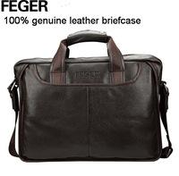 Guaranteed 100% Genuine Leather men bags business Men's Briefcase Laptop Bag Messenger bags Handbag tote shoulder travel bag