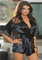 New Fashion Satin Black Sexy Lingerie Costume Pajamas underwear Sleepwear Robe and G-String Free Size [A02000201]
