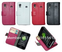Pu leather case for Samsung Galaxy Ace S5830, S5830 Wallet case cover with card slot , free shipping