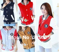 2013 Women Fashion BASEBALL Zipper cardigan Hoodies,Lady Zip Up Coat /Jacket  Hot Sweater wear hoody  for Autumn 4 colors