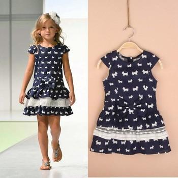 D033001*New*Girls print dog  lovely Dress Dress for Children Baby Girl  Dress 6 Pcs/Lot