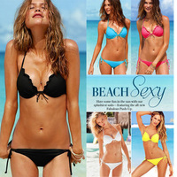 Free shipping 2013 brand sexy underwire ruffle bikini top & bottom swim suits(black/blue/orange/watermelon)