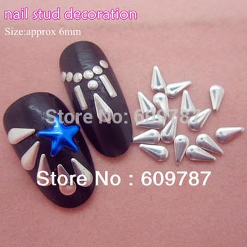 Free Shipping MD-1B 2000pcs/lot Silver 6mm 3d metal nail studs nail decorations