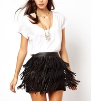 Free Shipping women  Multilayer PU leather fringed skirt lined skirts