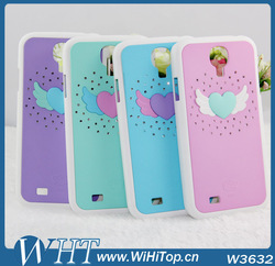 50pcs/lot .Anger Wing Case Colorful Cute Cover For Samsung Galaxy S4 i9500 Diamond Crystal Case Cover.(China (Mainland))