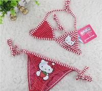 Wholesale  5pcs/lot Cute cartoon KT Wavelet point streaks swimwear bikini swimsuit for children