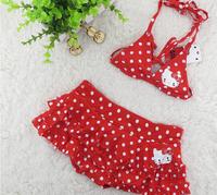 Wholesale 5pcs/lot Cute cartoon KT Red split swimsuit Sexy Bikini