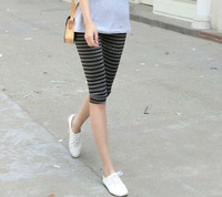 2014 Hot Sale  Fashion Summer Personality Striped Women Soft Stretchy Capris Pants 5Colors