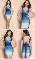 Party dresses new fashion 2013 Blue bandage dress sexy Backless Spaghetti strap novelty dress elegant dress tops