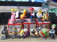 11style super mario 6-8 cm racing track princess koopa figures mairo train race colors retail packae 11pcs/set