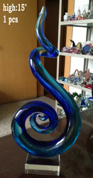 hand blown glass sculpture home decration gift blue swirl(China (Mainland))