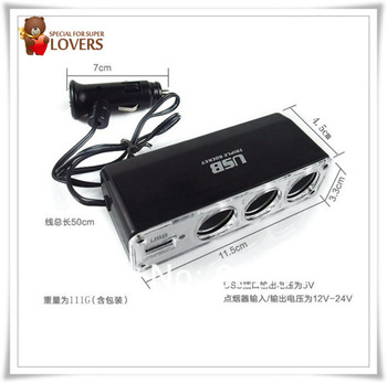 mini order 1 pcs,Car cigarette socket,USB Charger Supply & Triple SocketCar Cigarette Lighter WF-0096