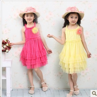 Free shipping Wholesale and retail 2013 children's clothing girls summer new veil dress Flower lace princess dress 4-10 years(China (Mainland))
