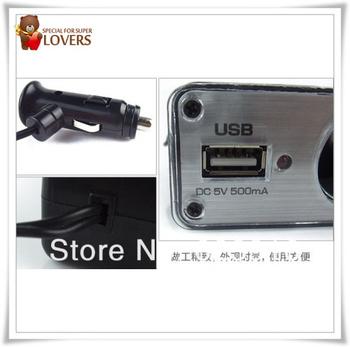 2pcs/lot good price 3 Car Cigarette Lighter Socket Splitter Charger with USB port 3 Way Car Cigarette Charger Socket Adapter