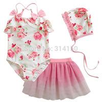 Vivo-biniya Tutu Dress Swimsuit Baby Girl Swimwear Children Fashion Flower One Piece+Dress+Hat Beach Suit Swimming Free shipping