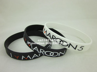 I Love MAROON 5 Wristband, silicon bracelet, filled in colour, black band,white band, 1pcs/lot,free shipping