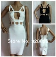 Free shipping 2014 Hollow out women black &white Sexy bandage Celebrity dress sleeveless strap Party Evening Dresses
