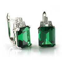 Wholesale Summer Luxury Stylish Ladies Charm Fairy Charm 7.4ct Emerald   Earring Hoops  .925 Sterling Silver Free Shipping