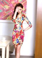 2013 spring Fresh green and  Fashion orange color dress new Slim printing beaded sleeve skirt