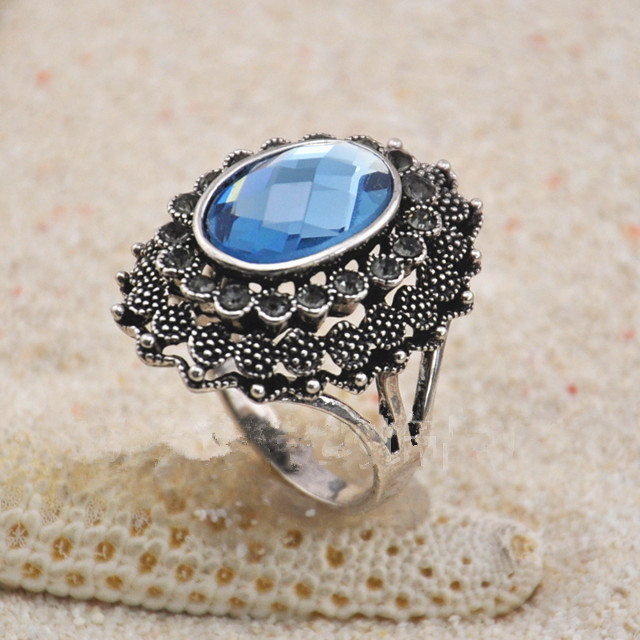 R60010 vintage jewelry ring Sapphire stone antique silver plated jewelry,promotion items free shipping ! manufacture direct(China (Mainland))