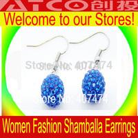 HOT SALE Wholesale TresorParis 10mm Shamballa Crystal Stud Disco Earring mix order bulk sale 30pair/lot Shambala jewellery