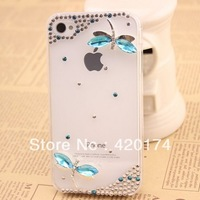 Free shipping bling Rhinestone Crystal Diamond 3D Hard mobile phone Case Covers for iphone4/4s, shiny butterfly