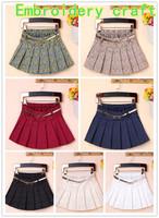 2015 New  Woman Chiffon skirt Pleated Girls Skirts Short Skirts Women female Upscale embroidery skirts With Belt WTP0116