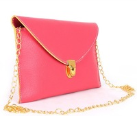 PROMOTION! 9 candy colors multicolor vintage chain envelope day clutch one shoulder cross-body PU Leather small bags