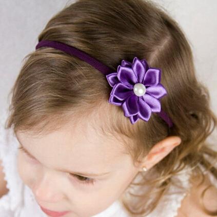 Wholesale - Baby satin ribbon flower headbands DIY layered flower with Pearl on skinny elastic Headband 30pcs/lot