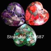 E0584  Free Shopping Beautiful Romantic Fashion Natural Sea Sediment Jasper&Pyrite pendant bead 3pcs/lot