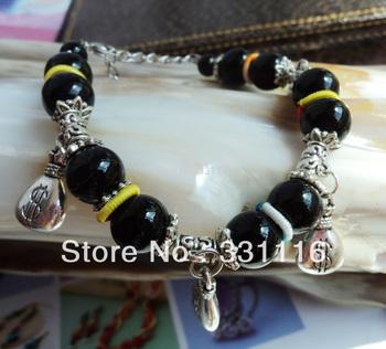 National trend miao silver Women bracelet transhipped obsidian black agate bracelet tibet jewelry