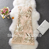 Sexy Fashion womens elegant embroidery paillette club sleeveless mini dress applique flowers exquisite slim one-piece dress