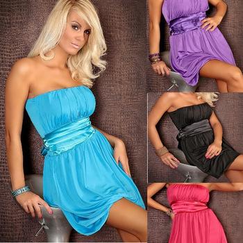 Freeshipping 2013 Women Fashion Plus Size Bandeau Sleeveless Dress with Sashes Clubwear Party Dress Retail+Dropshipping