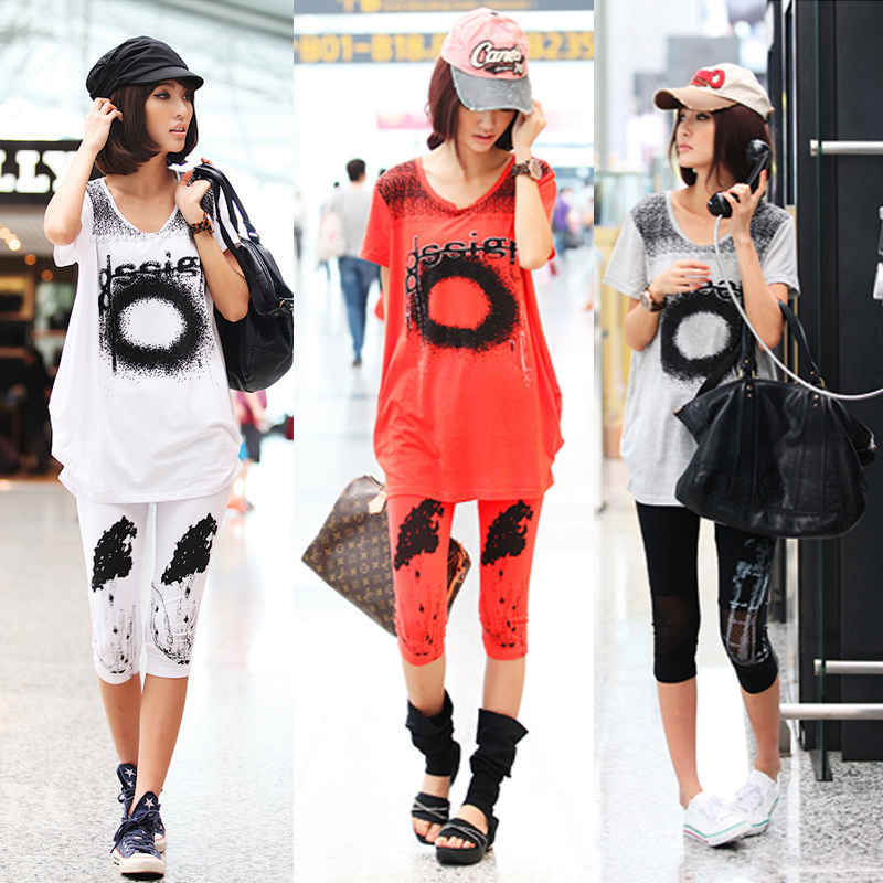Summer New Korean Women Loose Ink Effect Printing Short Sleeve Large Size T-shirt(China (Mainland))