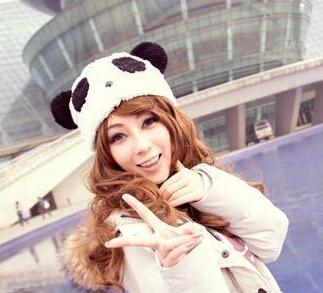 YBB Factory wholesale Panda Hat Plush Couple Caps Headgear Soft Cartoon Animals Hat Winter B075