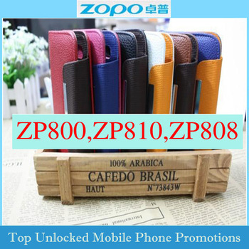 Free shipping Clamshell holster for ZOPO ZP800 ZP810 ZP820 C1  H7500 Flip case with card slot  leather cover