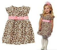 Hot sale 2014 New  Leopard grain  Girls Children dresses tutu kids Flowers Princess Dresses baby clothes For Summer!